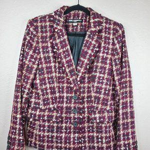 Karl Lagerfeld Paris Purple/Gold Tweed jacket